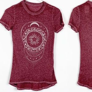ZOE + LIV Sun and Moon Graphic Tee-Burgundy-Large